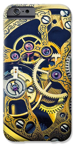 Precise iPhone Cases - Antique pocket watch gears iPhone Case by Garry Gay