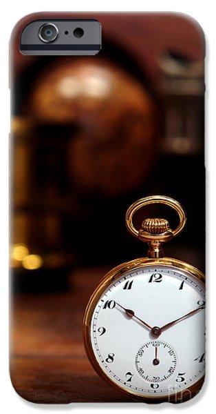 Clock Shop iPhone Cases - Antique Pocket Watch iPhone Case by Olivier Le Queinec