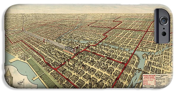 Chicago iPhone Cases - Antique Railroad Map of Chicago - 1897 iPhone Case by Blue Monocle