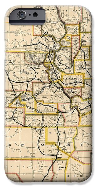 Colorado Drawings iPhone Cases - Antique Railroad Map of Colorado and New Mexico by S. W. Eccles - 1881 iPhone Case by Blue Monocle