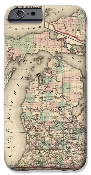 Chicago iPhone Cases - Antique Railroad Map of Michigan by Colton and Co. - 1876 iPhone Case by Blue Monocle