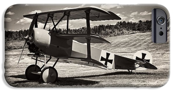 World War One Photographs iPhone Cases - Antique Red Barron Fokker Dr.1 Triplane iPhone Case by Keith Webber Jr
