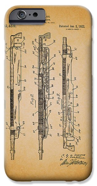 Weapon Drawings iPhone Cases - Antique Remington Automatic Firearm Patent 1922 iPhone Case by Mountain Dreams