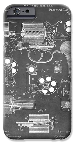 Colt 45 iPhone Cases - Antique Revolver Patent iPhone Case by Dan Sproul
