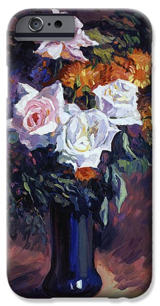 Still Life iPhone Cases - Antique Roses iPhone Case by David Lloyd Glover