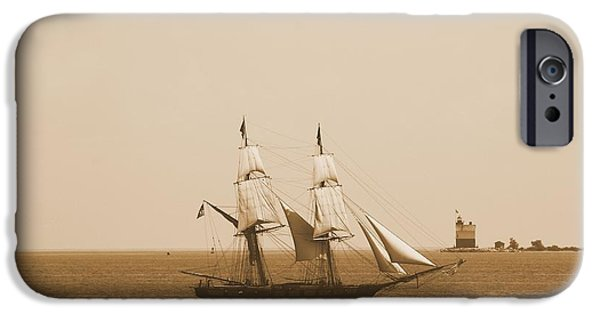 Brig iPhone Cases - Antique Sailing Ship And Lighthouse iPhone Case by Dan Sproul