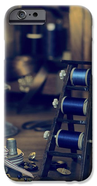 Thread iPhone Cases - Antique Sewing Items iPhone Case by Amanda And Christopher Elwell