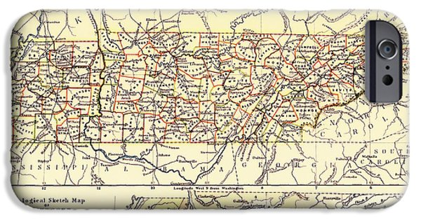 Tennessee Drawings iPhone Cases - Antique State of Tennessee Map 1888 iPhone Case by Mountain Dreams