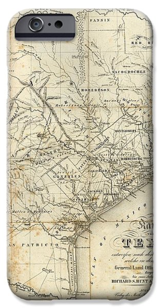 Arkansas Mixed Media iPhone Cases - Antique Texas Map 1841 iPhone Case by Dan Sproul