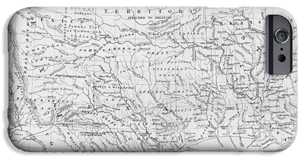 Arkansas iPhone Cases - Antique Texas Map iPhone Case by Dan Sproul