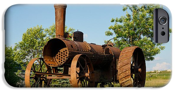 Machinery iPhone Cases - Antique Tractor - A Rusty Relic on a Farm iPhone Case by Georgia Mizuleva
