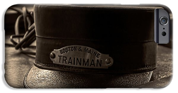 Tickets Boston iPhone Cases - Antique Trainman Hat From Boston and Maine Railroad iPhone Case by Laura Duhaime