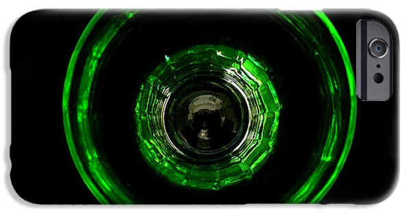Illusional iPhone Cases - Bullseye Vaseline Glass iPhone Case by Diane McElhaney