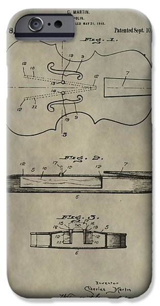 Violin iPhone Cases - Antique Violin Patent iPhone Case by Dan Sproul