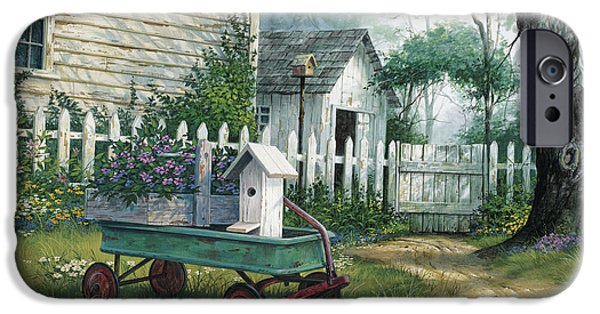 Barns Paintings iPhone Cases - Antique Wagon iPhone Case by Michael Humphries