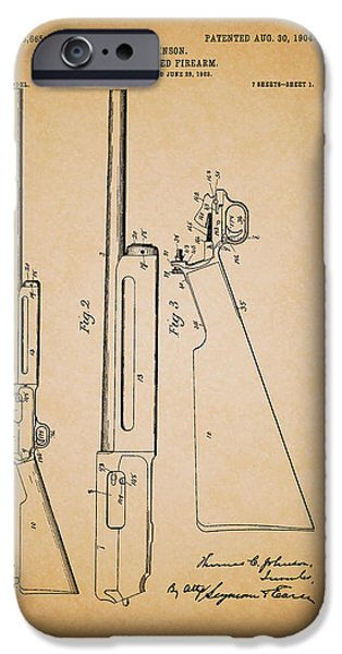 Weapon Drawings iPhone Cases - Antique Winchester Rifle Patent 1904 iPhone Case by Mountain Dreams