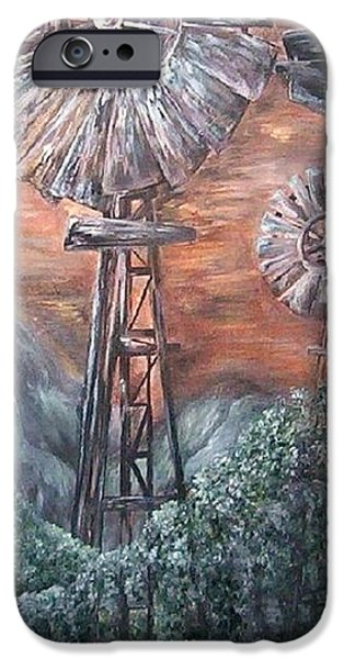 Antique Windmills at Dusk iPhone Case by Eloise Schneider
