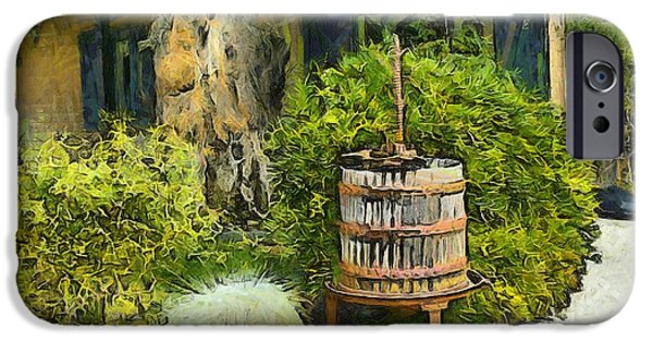 Vineyard Photograph iPhone Cases - Antique Wine Press 3 iPhone Case by Barbara Snyder
