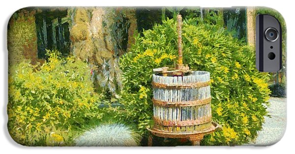 Vineyard Photograph iPhone Cases - Antique Wine Press 4 iPhone Case by barbara Snyder