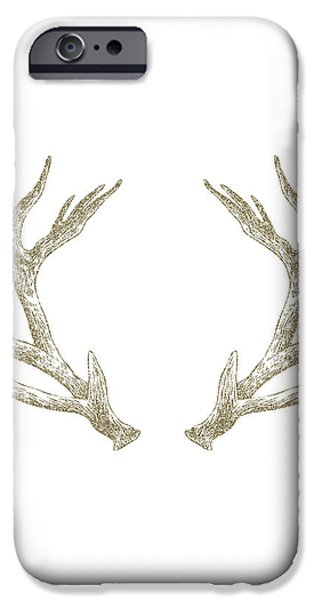 Cabin iPhone Cases - Antlers iPhone Case by Randoms Print