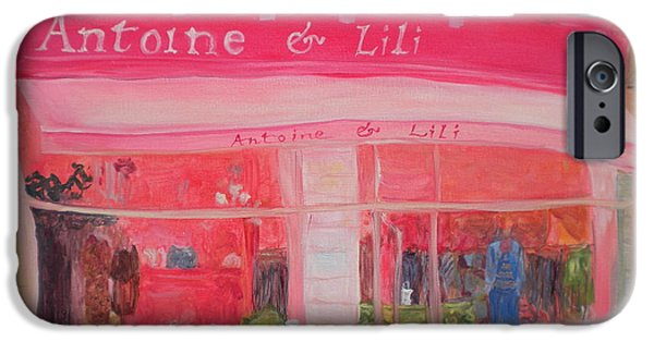 Shop Window iPhone Cases - Antoine & Lili, 2010 Oil On Canvas iPhone Case by Antonia Myatt