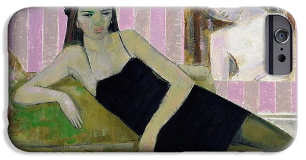 Seductive iPhone Cases - Antoinette And A Detail From Balthus, 1994 Oil On Canvas iPhone Case by Endre Roder