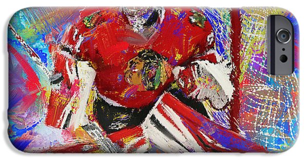 Hockey Paintings iPhone Cases - Antti Raanta iPhone Case by Donald Pavlica