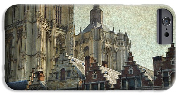 Guild iPhone Cases - Antwerp Skyline iPhone Case by Joan Carroll
