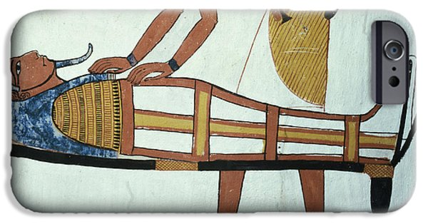 Burial iPhone Cases - Anubis And A Mummy, From The Tomb Of Sennedjem, The Workers Village, New Kingdom Mural See iPhone Case by Egyptian 19th Dynasty