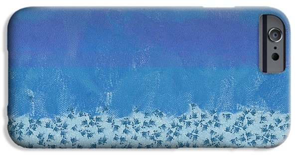 Abstract Digital Photographs iPhone Cases - Anything But Blue Holiday Blues iPhone Case by Lorri Crossno