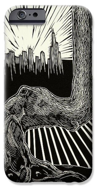 Lino Print Reliefs iPhone Cases - Anyway iPhone Case by David Honaker