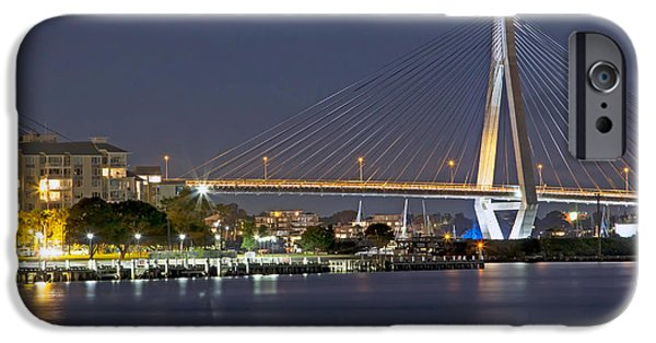 Island Stays iPhone Cases - Anzac Bridge by Night iPhone Case by Nicholas Blackwell
