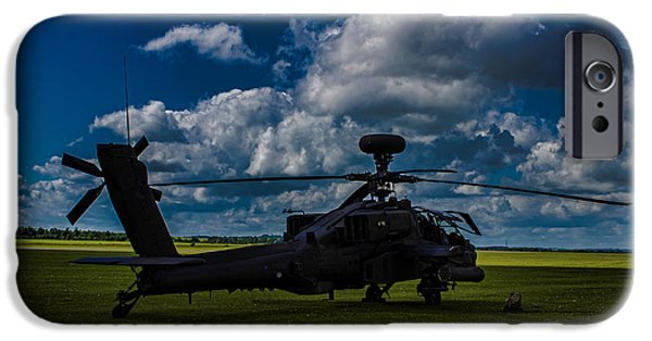 Helicopter iPhone Cases - Apache Gun Ship iPhone Case by Martin Newman