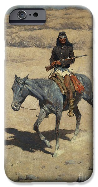 Frederic Remington iPhone Cases - Apache Scout  iPhone Case by Frederic Remington
