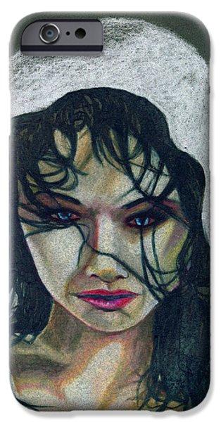 Apnea Drawings iPhone Cases - Apnea Portrait iPhone Case by Kd Neeley