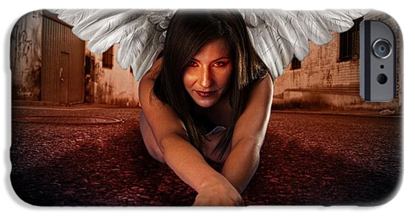 Night Angel iPhone Cases - Apocaliptic Angel  iPhone Case by M and L Creations