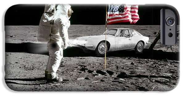 Moon Walk iPhone Cases - Apollo 11 and Lost Driver iPhone Case by Chuck Staley