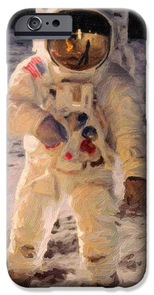 Cosmic Paintings iPhone Cases - Apollo 11 Astronaut Painting iPhone Case by Celestial Images