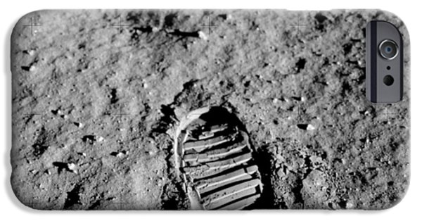 Abstract Digital Photographs iPhone Cases - Apollo 11 Buzz Aldrins Moon Footprint  iPhone Case by Celestial Images