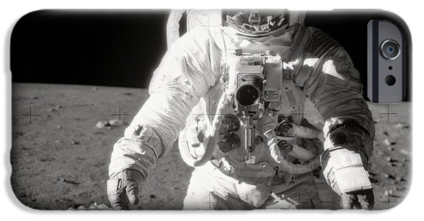 Astronomy iPhone Cases - Apollo 12 Moonwalk - 1969 iPhone Case by World Art Prints And Designs