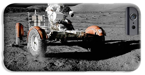 Stellar iPhone Cases - Apollo 17s lunar roving vehicle iPhone Case by Celestial Images