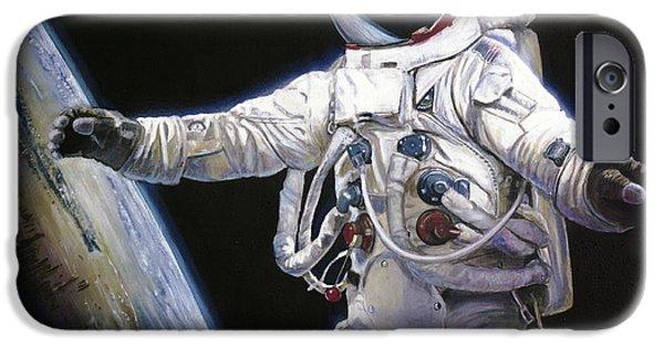 Nasa iPhone Cases - Apollo 9 - Schweickart on the Porch iPhone Case by Simon Kregar