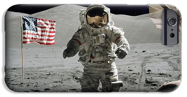 Stellar iPhone Cases - Apollo Astronaut on the lunar surface iPhone Case by Celestial Images