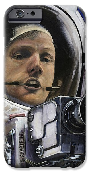 Science Paintings iPhone Cases - Apollo- For Mankind iPhone Case by Simon Kregar