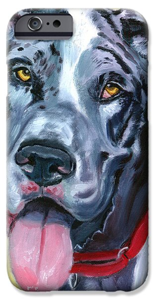 Great Dane Puppy iPhone Cases - Apollo of Dogs - Great Dane iPhone Case by Lyn Cook