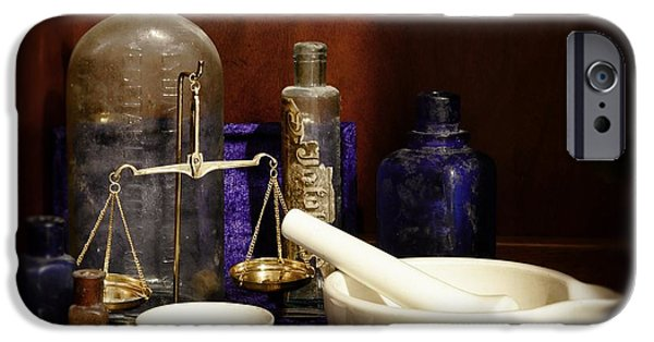 Old Grinders iPhone Cases - Apothecary - Mortar Pestle and Scales iPhone Case by Paul Ward