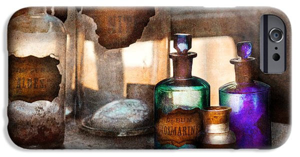 Suburbanscenes iPhone Cases - Apothecary - Oleum Rosmarini  iPhone Case by Mike Savad