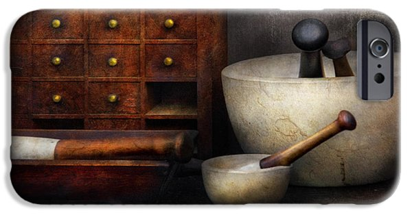 Suburbanscenes iPhone Cases - Apothecary - Pestle and Drawers iPhone Case by Mike Savad