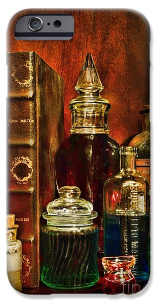 Old Grinders iPhone Cases - Apothecary - Vintage Jars and Potions iPhone Case by Paul Ward