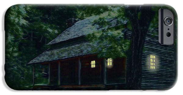 Cabin Window Digital iPhone Cases - Rustic Home - Smoky Mountain Cabin Lights iPhone Case by Barry Jones
